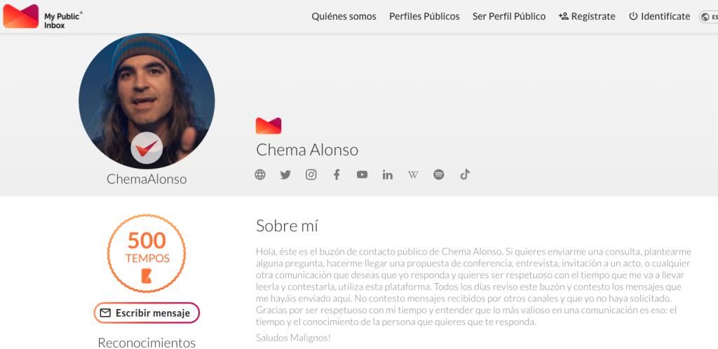 Perfil en My Public de Chema Alonso,  influencer tecnológico importante España.